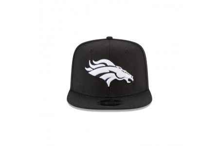 DENVER BRONCOS BLACK AND WHITE HIGH CROWN 9FIFTY SNAPBACK - Sale
