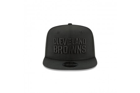 CLEVELAND BROWNS BLACK ON BLACK HIGH CROWN 9FIFTY SNAPBACK - Sale