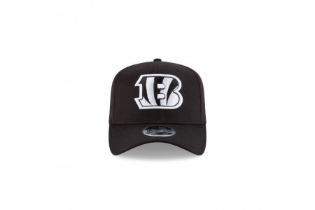 CINCINNATI BENGALS BLACK AND WHITE STRETCH SNAP 9FIFTY SNAPBACK - Sale