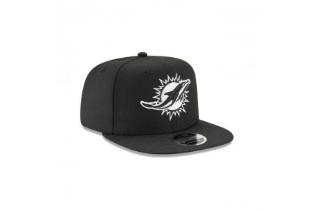 MIAMI DOLPHINS BLACK AND WHITE HIGH CROWN 9FIFTY SNAPBACK - Sale