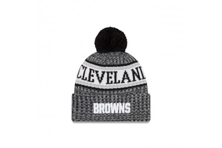 CLEVELAND BROWNS BLACK AND WHITE COLD WEATHER SPORT KNIT - Sale