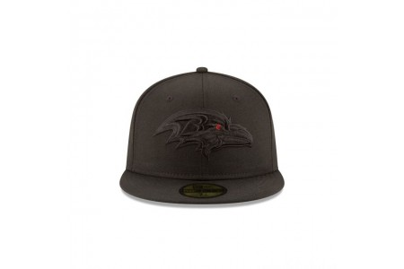 BALTIMORE RAVENS BLACK ON BLACK 59FIFTY FITTED - Sale