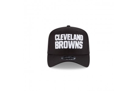 Black Friday Sale - CLEVELAND BROWNS BLACK AND WHITE STRETCH SNAP 9FIFTY SNAPBACK