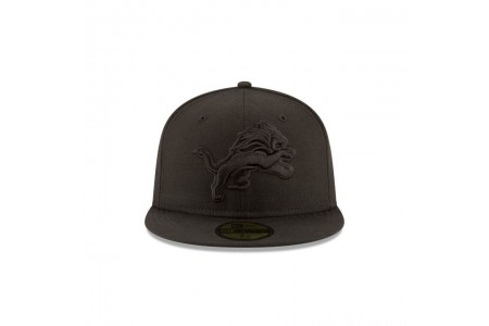 DETROIT LIONS BLACK ON BLACK 59FIFTY FITTED