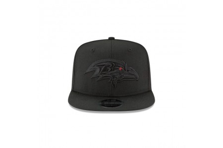 BALTIMORE RAVENS BLACK ON BLACK HIGH CROWN 9FIFTY SNAPBACK - Sale