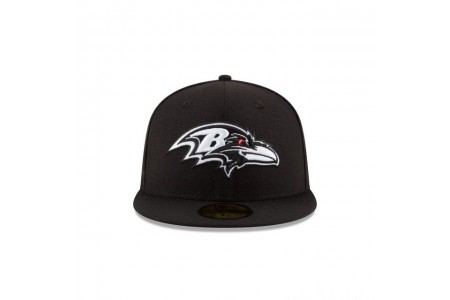 BALTIMORE RAVENS BLACK & WHITE 59FIFTY FITTED - Sale