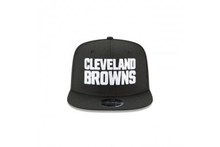 Black Friday Sale - CLEVELAND BROWNS BLACK AND WHITE HIGH CROWN 9FIFTY SNAPBACK