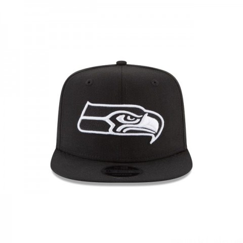 SEATTLE SEAHAWKS BLACK AND WHITE HIGH CROWN 9FIFTY SNAPBACK