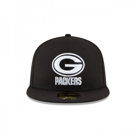 GREEN BAY PACKERS BLACK & WHITE 59FIFTY FITTED - Sale