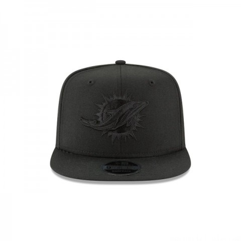MIAMI DOLPHINS BLACK ON BLACK HIGH CROWN 9FIFTY SNAPBACK - Sale