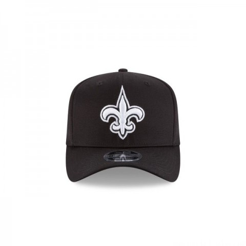NEW ORLEANS SAINTS BLACK AND WHITE STRETCH SNAP 9FIFTY SNAPBACK