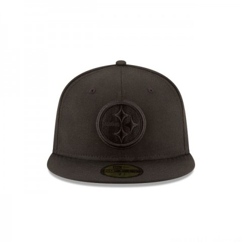PITTSBURGH STEELERS BLACK ON BLACK 59FIFTY FITTED - Sale