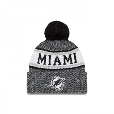 MIAMI DOLPHINS BLACK AND WHITE COLD WEATHER SPORT KNIT - Sale