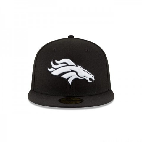 DENVER BRONCOS BLACK & WHITE 59FIFTY FITTED - Sale