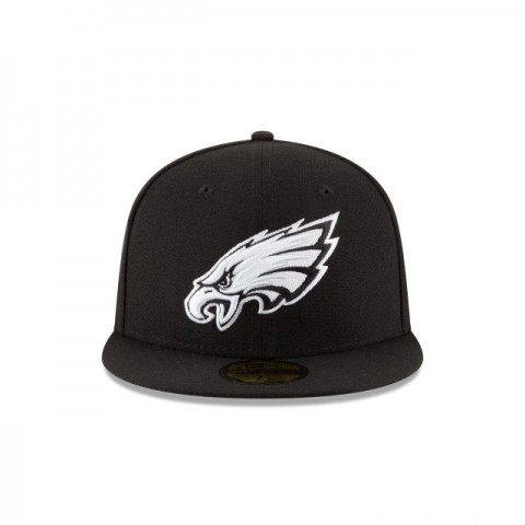 PHILADELPHIA EAGLES BLACK & WHITE 59FIFTY FITTED - Sale