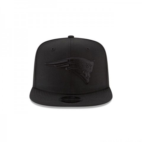 NEW ENGLAND PATRIOTS BLACK ON BLACK HIGH CROWN 9FIFTY SNAPBACK - Sale