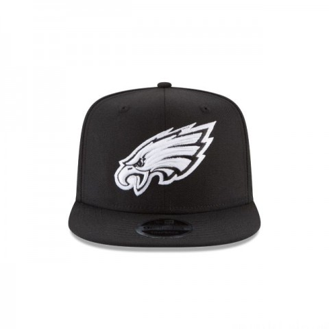 PHILADELPHIA EAGLES BLACK AND WHITE HIGH CROWN 9FIFTY SNAPBACK - Sale