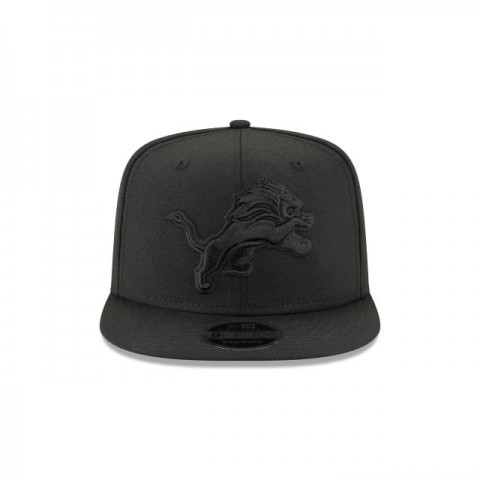 DETRIOT LIONS BLACK ON BLACK HIGH CROWN 9FIFTY SNAPBACK - Sale