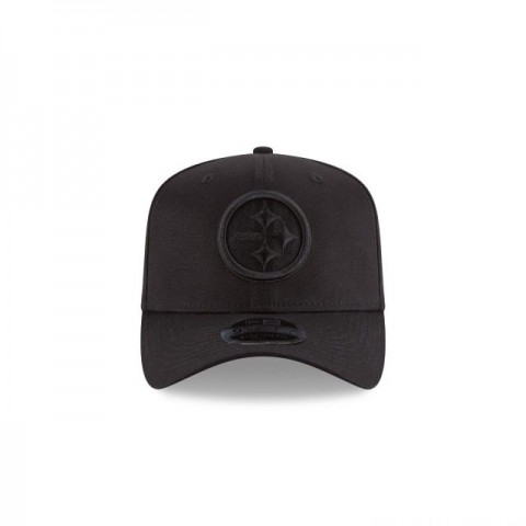 PITTSBURGH STEELERS BLACK ON BLACK STRETCH SNAP 9FIFTY SNAPBACK - Sale