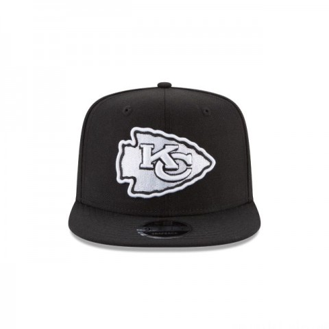 KANSAS CITY CHIEFS BLACK AND WHITE HIGH CROWN 9FIFTY SNAPBACK