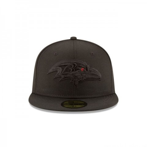 BALTIMORE RAVENS BLACK ON BLACK 59FIFTY FITTED