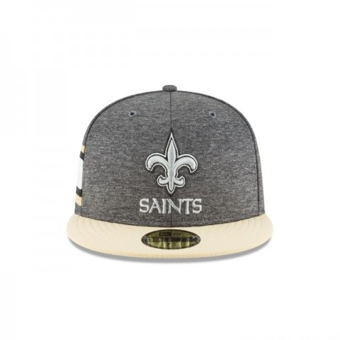 NEW ORLEANS SAINTS GRAPHITE SIDELINE HOME 59FIFTY FITTED