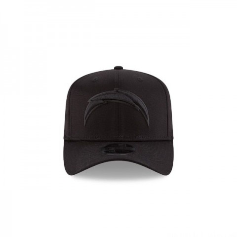 LOS ANGELES CHARGERS BLACK ON BLACK STRETCH SNAP 9FIFTY SNAPBACK - Sale