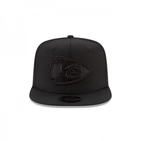 KANSAS CITY CHIEFS BLACK ON BLACK HIGH CROWN 9FIFTY SNAPBACK