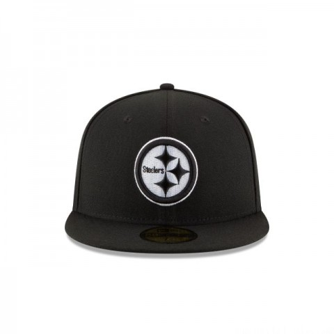 PITTSBURGH STEELERS BLACK & WHITE 59FIFTY FITTED - Sale