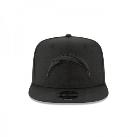 LOS ANGELES CHARGERS BLACK ON BLACK HIGH CROWN 9FIFTY SNAPBACK - Sale