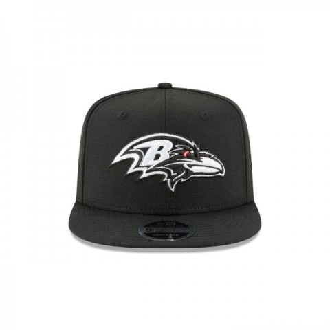 BALTIMORE RAVENS BLACK AND WHITE HIGH CROWN 9FIFTY SNAPBACK