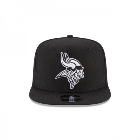 MINNESOTA VIKINGS BLACK AND WHITE HIGH CROWN 9FIFTY SNAPBACK - Sale