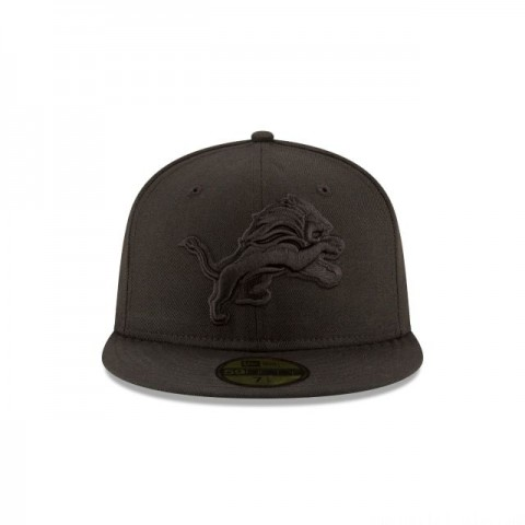 DETROIT LIONS BLACK ON BLACK 59FIFTY FITTED - Sale