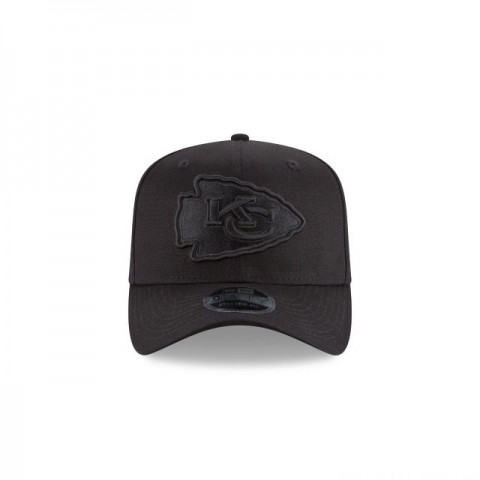 KANSAS CITY CHIEFS  BLACK ON BLACK 9FIFTY STRETCH  SNAPBACK