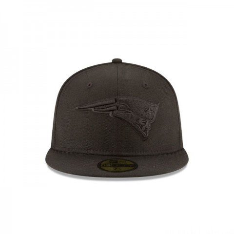 NEW ENGLAND PATRIOTS BLACK ON BLACK 59FIFTY FITTED - Sale