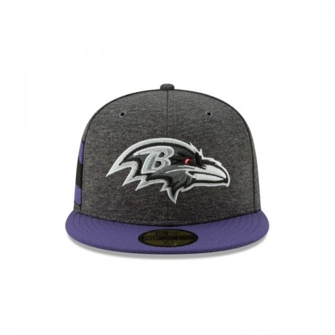 BALTIMORE RAVENS GRAPHITE SIDELINE HOME 59FIFTY FITTED