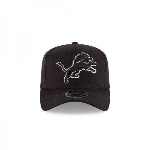 DETROIT LIONS BLACK AND WHITE 9FIFTY STRETCH SNAPBACK - Sale