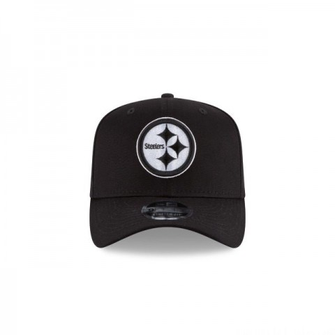 PITTSBURGH STEELERS BLACK AND WHITE STRETCH SNAP 9FIFTY SNAPBACK - Sale