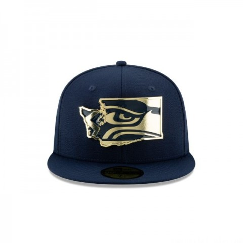 SEATTLE SEAHAWKS GOLD STATED 59FIFTY FITTED
