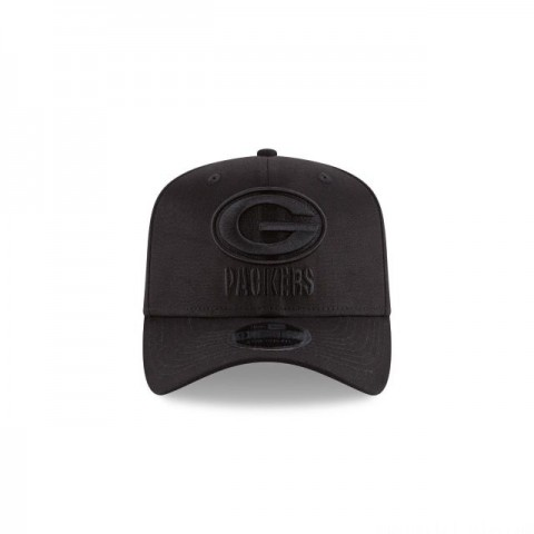 GREEN BAY PACKERS BLACK ON BLACK STRETCH SNAP 9FIFTY SNAPBACK - Sale