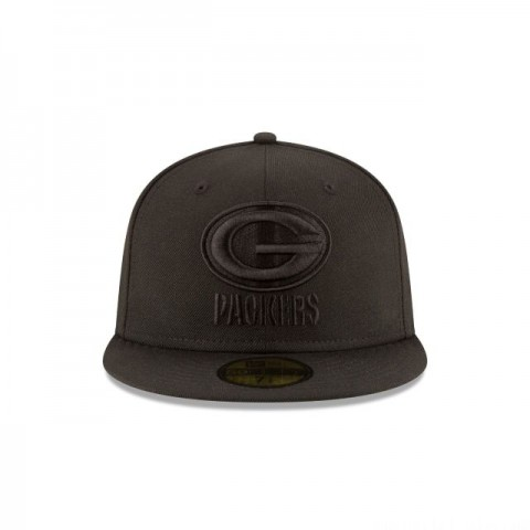 GREEN BAY PACKERS BLACK ON BLACK 59FIFTY FITTED - Sale