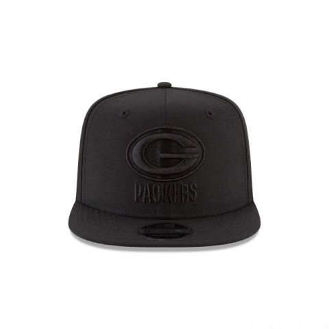 GREEN BAY PACKERS BLACK ON BLACK HIGH CROWN 9FIFTY SNAPBACK - Sale