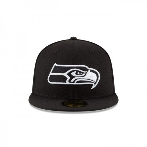 SEATTLE SEAHAWKS BLACK & WHITE 59FIFTY FITTED